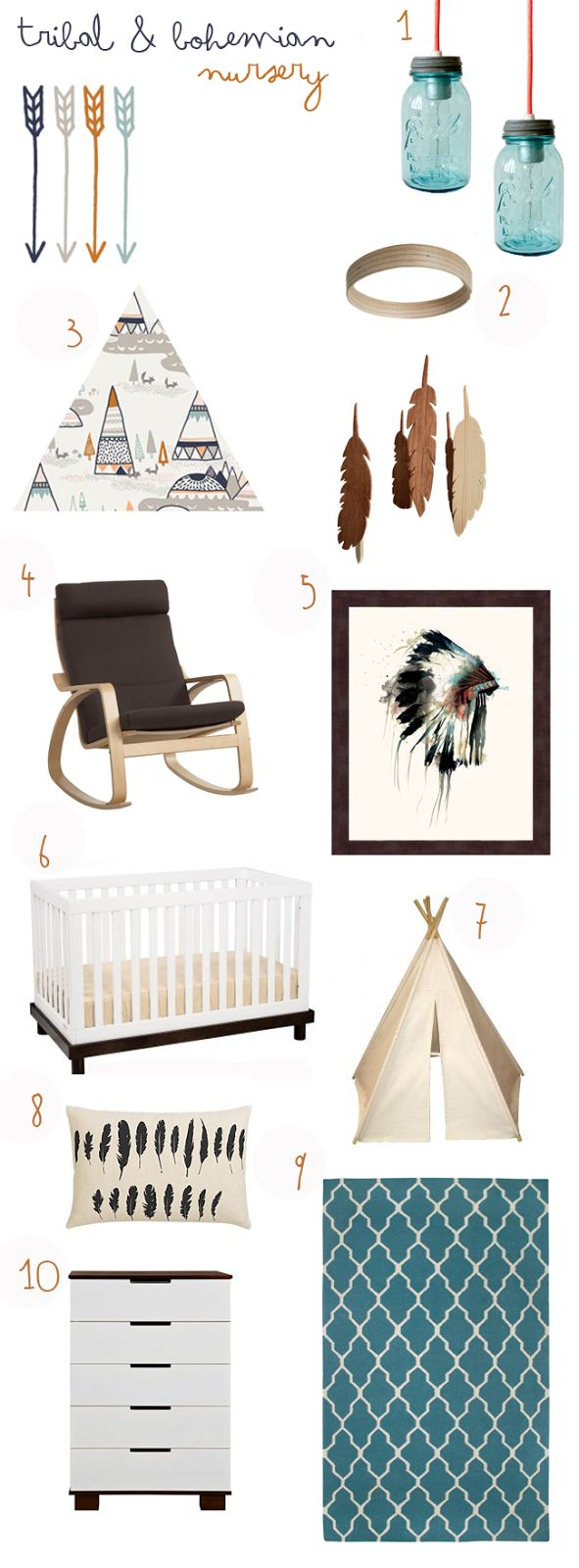DIY projects are perfect for your Aztec or tribal themed nursery! Items and fabric featuring feather prints and arrows will go perfectly in the space.
