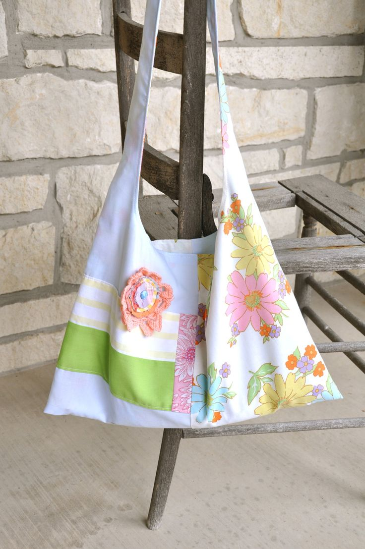Granny Chic Totes- Chic Boho Bags -- Summer Purse- Slouch Bag -Pillowcase Bags- Upcycled Vintage Fabric Purse Funky Whimsical Purses by RekindledPleasures on Etsy