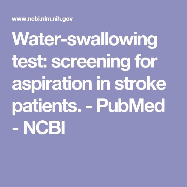 Water-swallowing test: screening for aspiration in stroke patients.  - PubMed - NCBI
