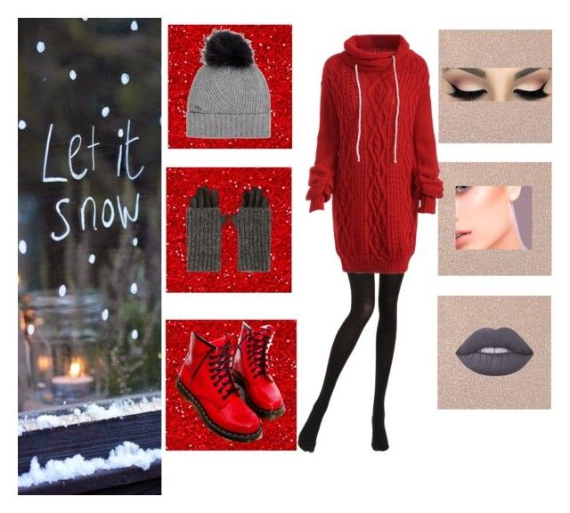 """""""Let It Snow"""" by kixkeen on Polyvore featuring Chantal Thomass, Dr. Martens, Carolina Amato, Woolrich and Lime Crime"""