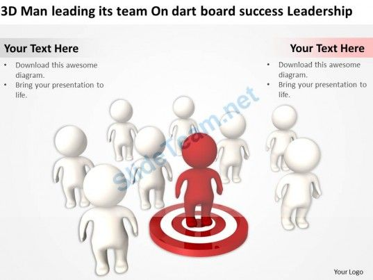 3D Man Leading Its Team on Dart Board Success Leadership Ppt Graphics Icons #Powerpoint #Templates #Infographics