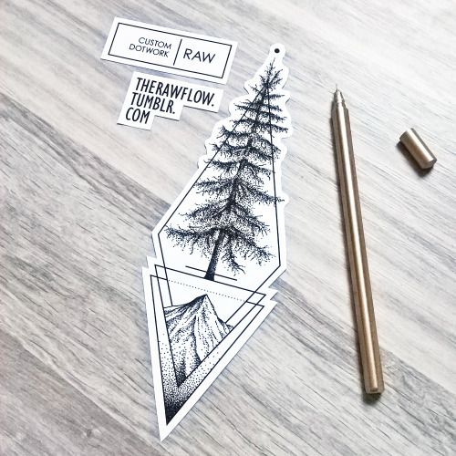 """""""custom dotwork cedar tree tattoo design for Alec..."""" such a beautiful geometric design maybe for the calf or forearm, pin: morganxwinter"""