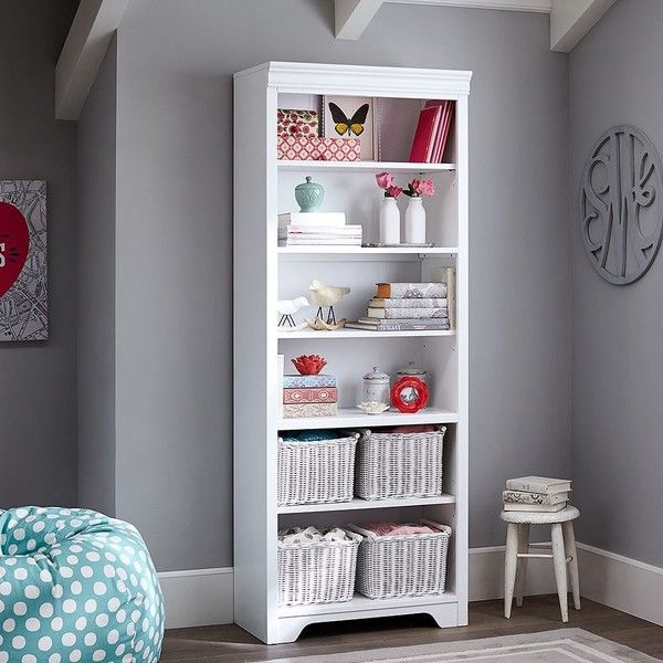 PB Teen Shelby Tower, White at Pottery Barn Teen - Bookshelves -... ($670) ❤ liked on Polyvore featuring home, furniture, storage & shelves, bookcases, book shelf, book-case, white wood shelves, wood book shelf and white wood shelf