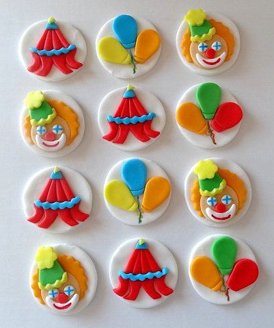 12 Fondant Edible Cupcake/Cookie Toppers   Circus by TopCakeDecors, $19.95