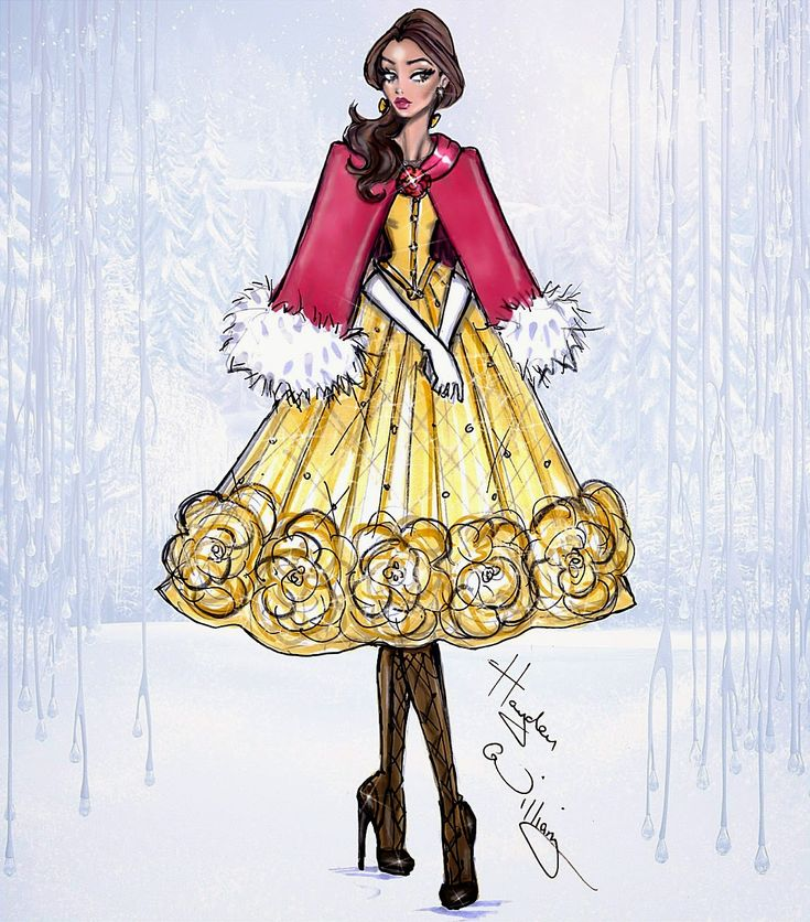 #Hayden Williams Fashion Illustrations #Disney Divas 'Holiday' collection by Hayden Williams: Belle