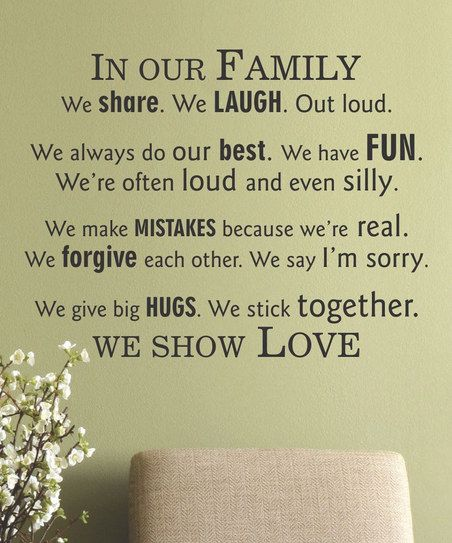 ...This will be in my house...Black 'In Our Family' Wall Quote