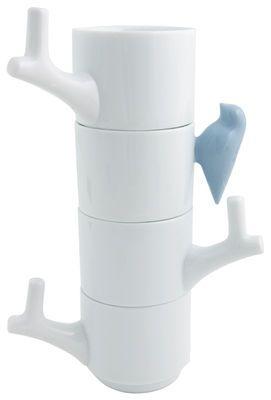 Tasse Oiseau / Lot de 4 tasses empilables Blanc / Oiseau bleu - Invotis - Décoration et mobilier design avec Made in Design