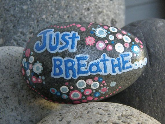 JUST BREATHE hand painted beach rock. by DottyRoxAndMore on Etsy