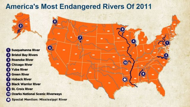 Rivers at risk from mining, gas drilling, untreated wastewater, roads, bridges and overuse