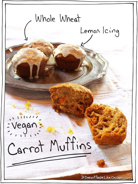 Whole Wheat Vegan Carrot Muffins with Lemon Icing. These healthy muffins are light, fluffy, and delicious!
