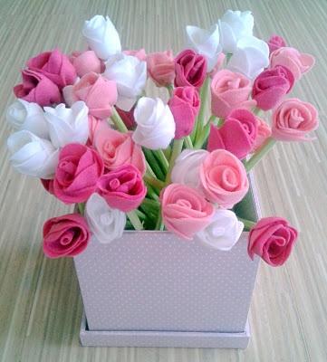 vaso com flores em feltro!
