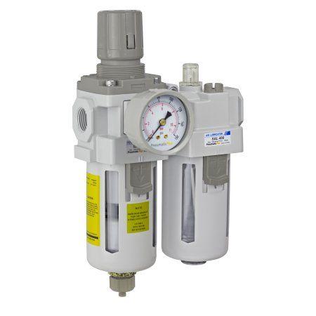 PneumaticPlus SAU410-N04G Compressed Air Filter Regulator Lubricator Piggyback Combo 1/2 inch NPT - Poly Bowl, Manual Drain, Bracket, Gauge
