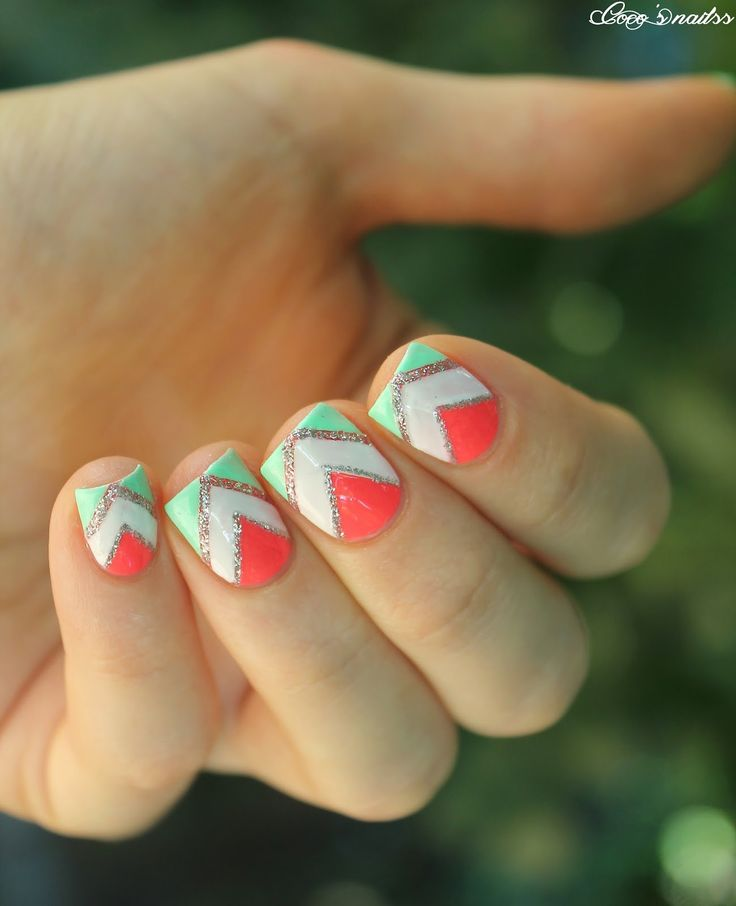 Adorable Nail Art: Best 25+ Mint Chevron Nails Ideas On Pinterest