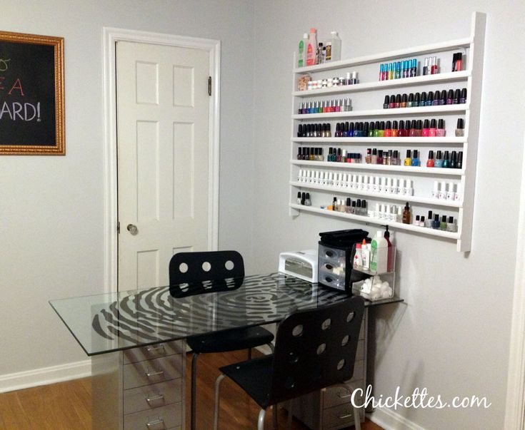 Nail Station with Custom Built Nail Polish Shelf from chickettes.com