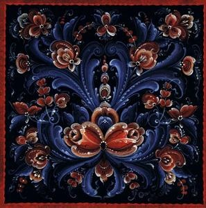 Rosemaling tile in Telemark style (I would love to hang these in my dining room!)