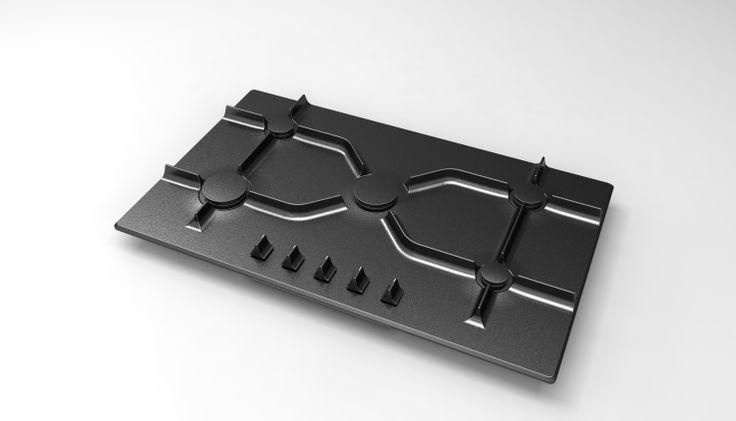 Exclusive serisi/9510 -90 cm gri mat görünümlü tam döküm ocak -A'desing Award & Competition Bronz madalya ödüllü