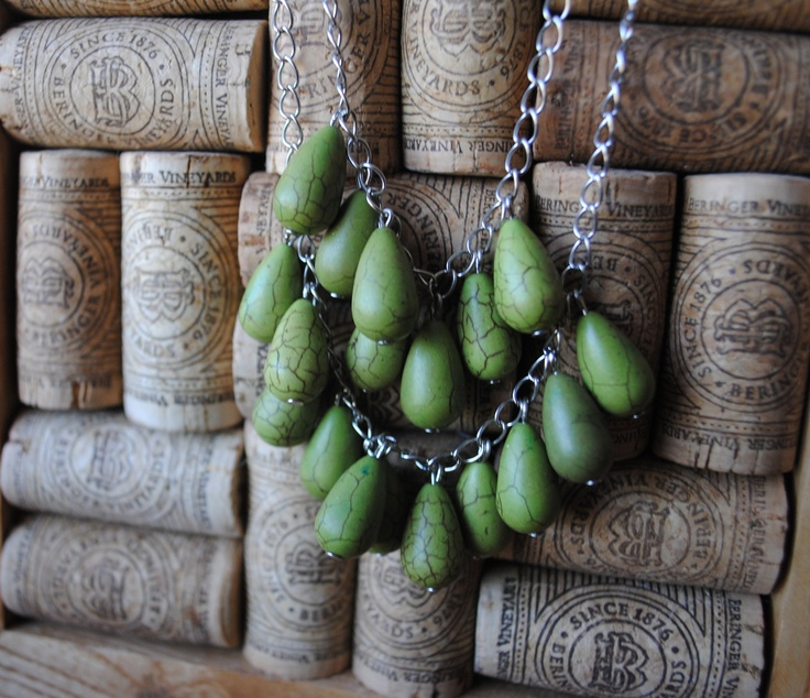 Dropping Off Necklace in Sage. $20.00, via Etsy.