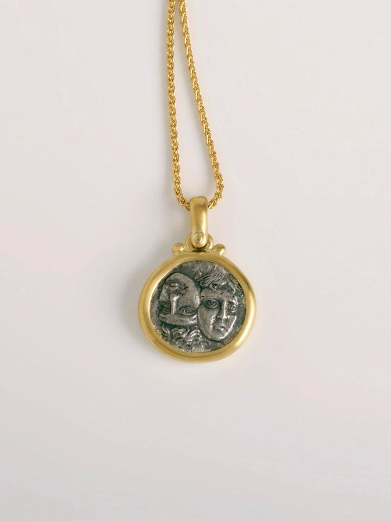Istros greek coin pendant | sterling silver coin pendant authentic ancient Greek coin, 18k gold pendant, Twins coin, old coin necklace