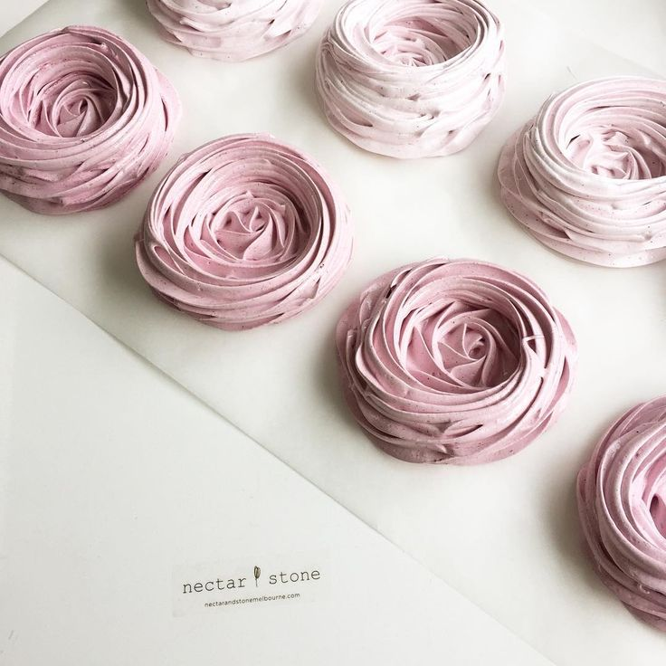 Pretty pink meringue shells