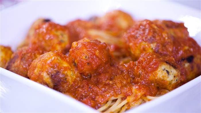 Meatballs chicken parm = Alton Brown's juicy chicken parmesan balls Made this using turkey, still really good! Oct '16