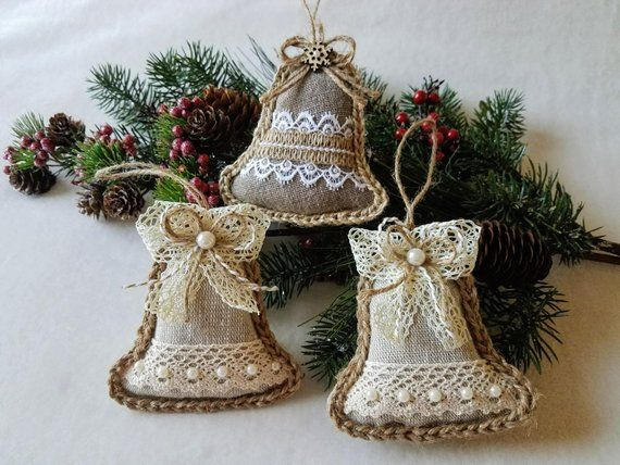 Rustic Christmas Farmhouse Country Decorations Burlap Ornaments Christmas Tree Set Of Christmas Decorations Rustic Tree Rustic Christmas Rustic Christmas Tree