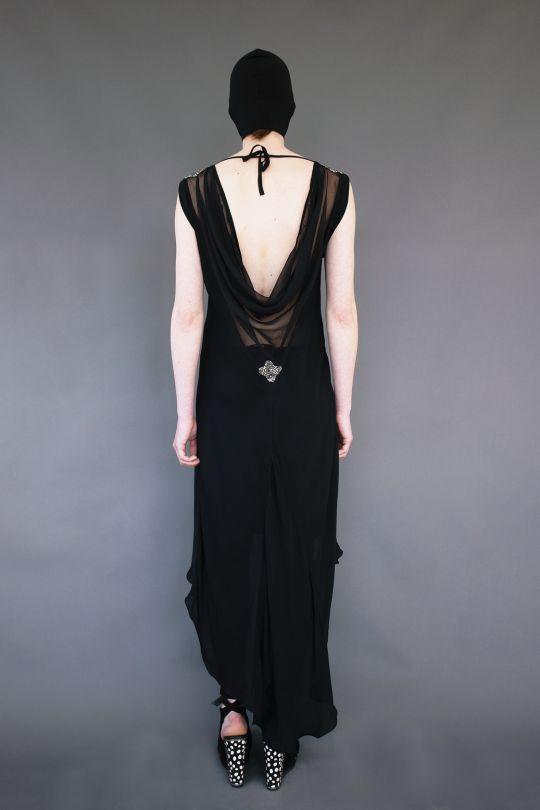 Οblique silk dress with open back www.maurizio.gr