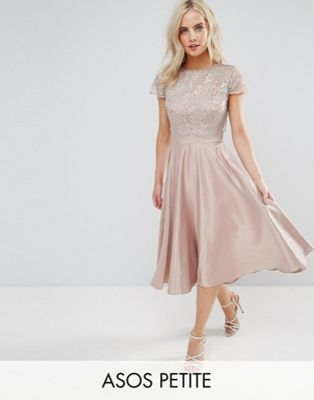 ASOS PETITE Lace Metallic Crop Top Midi Skater Dress