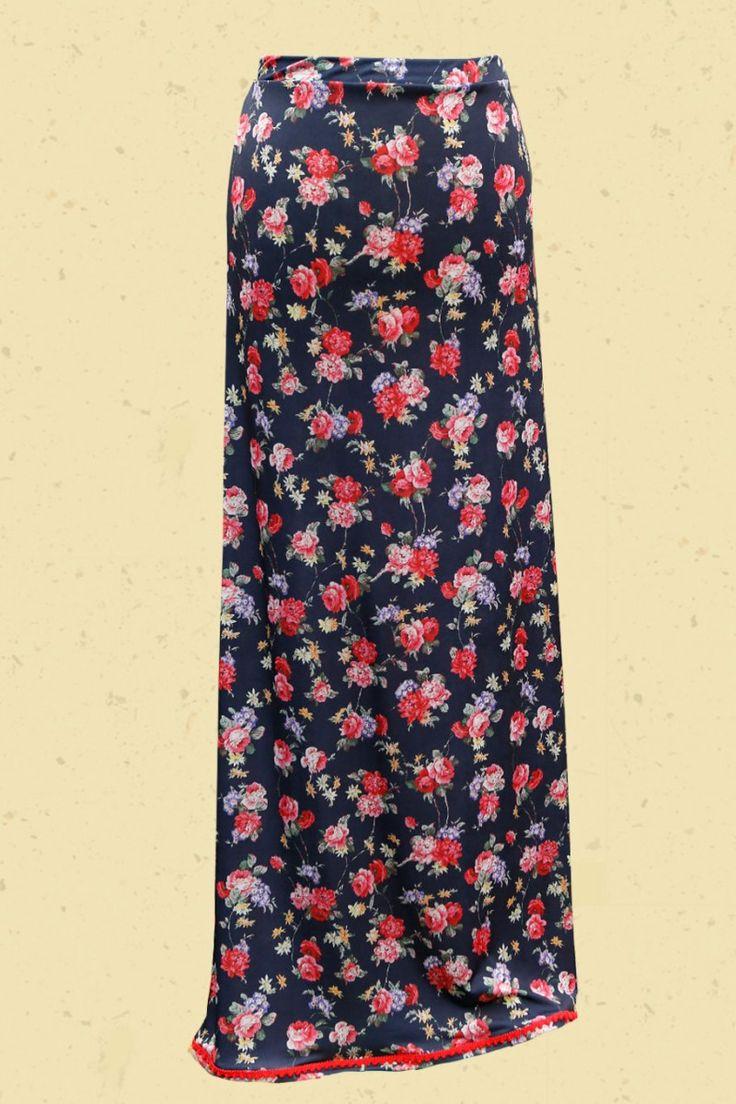 Talulabelle Vurige zwarte maxirok met rode rozen maxi skirt black red roses floral print