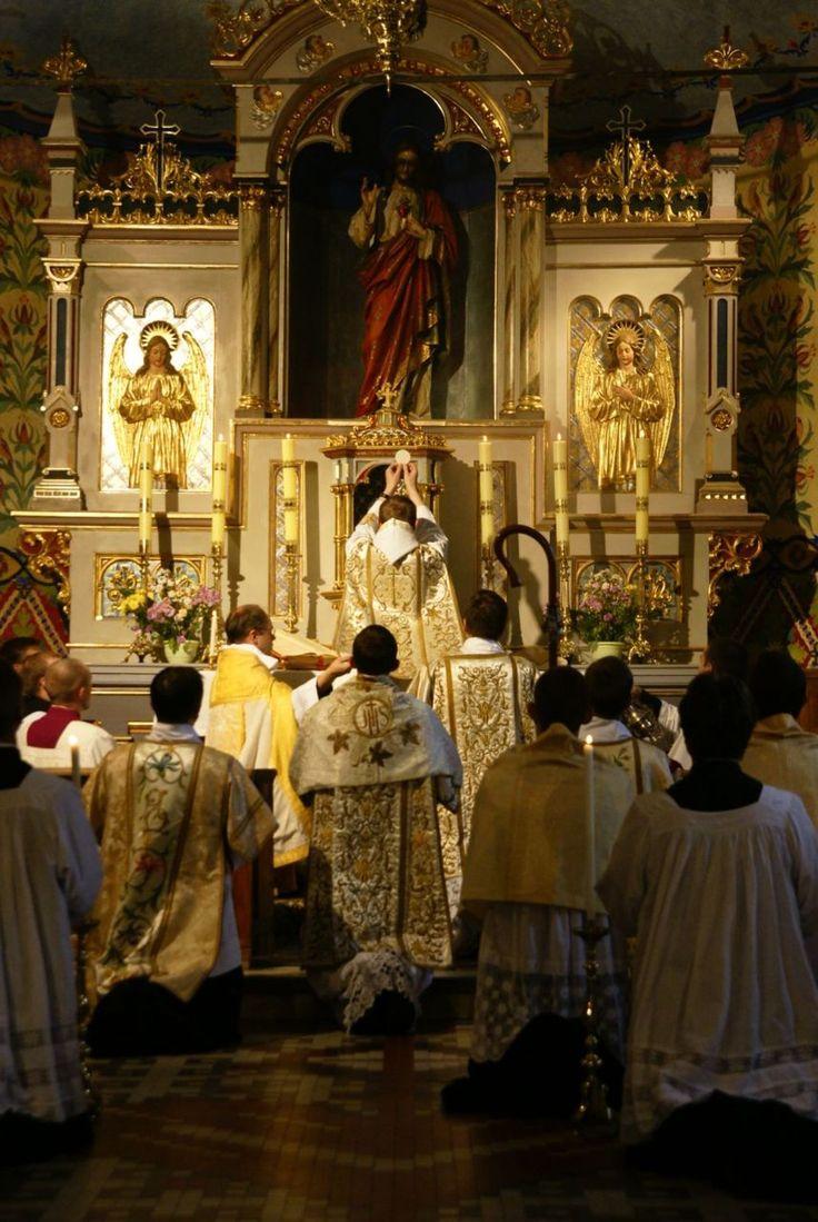 Polish Benedictine monks celebrating a Solemn Pontifical Mass.
