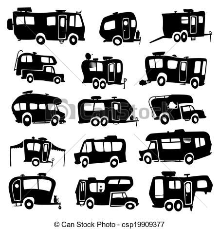 Vector - Recreational Vehicles Icons - stock illustration, royalty free illustrations, stock clip art icon, stock clipart icons, logo, line art, EPS picture, pictures, graphic, graphics, drawing, drawings, vector image, artwork, EPS vector art