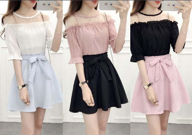 Sweet chiffon blouse + skirt two pieces AD0185