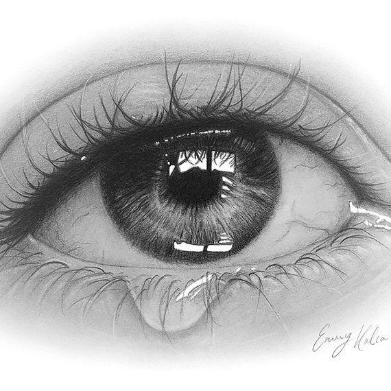 Augentrane Zeichnung Schwarz Und Weiss Druckversion Von Emmykalia Farbig Alexandre Marchac Alexandre Augentrane Augen Malen Zeichnungen Farbstift Kunst