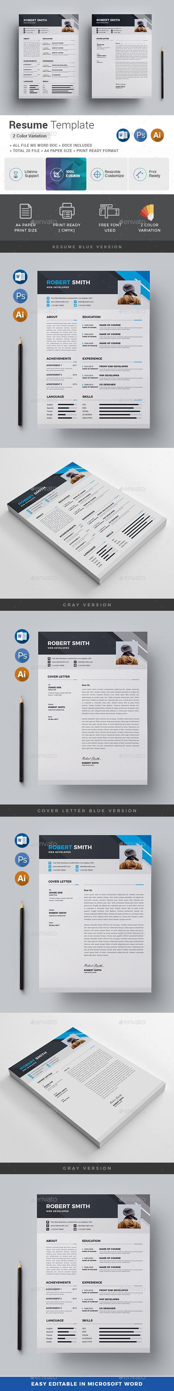 resume templates free word 2010%0A Resume Design Template PSD  Vector EPS  AI Illustrator  MS Word