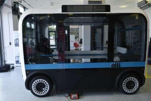 """""""Olli"""" une navette autonome est vu à l'installation Local Motors au National Harbor dans le Maryland le 16 Juin 2016"""