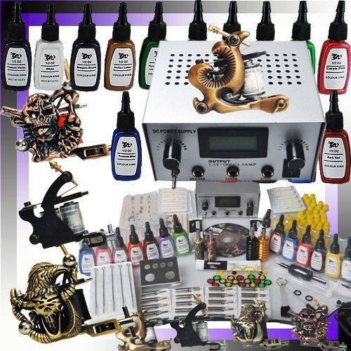 Professional 4 Tattoo Gun Tattoo Kit with Tattoo Power Supply/15 Color Tattoo Ink/Tattoo Needles/4 Tattoo Machine/other Tattoo Supplies MGT7 by f99-ctzl. $73.99. 1/One Top quality professional power supply system (Can work under 110V/230V, The power supply plug, we provide different power cords and plugs to meet different customers).  2/50 High quality pre made sterile tattoo needles (the sizes from round liner 3,5,7,9; round shader 5,7,9; magnum 5,7,9; 5 for eac...