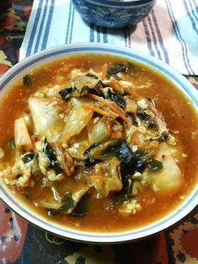 凍りしらたきでスープ@酸辛湯麺(風)