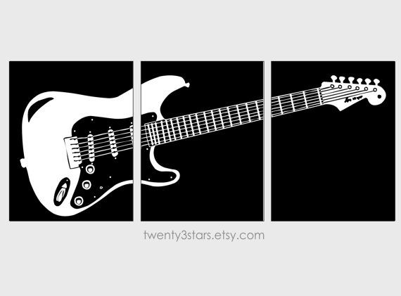 Electric Guitar Art Triptych, You Choose the Colors, Perfect Gift for any Music Lover or Guitar Player, or for Rock Star Nursery in black and white