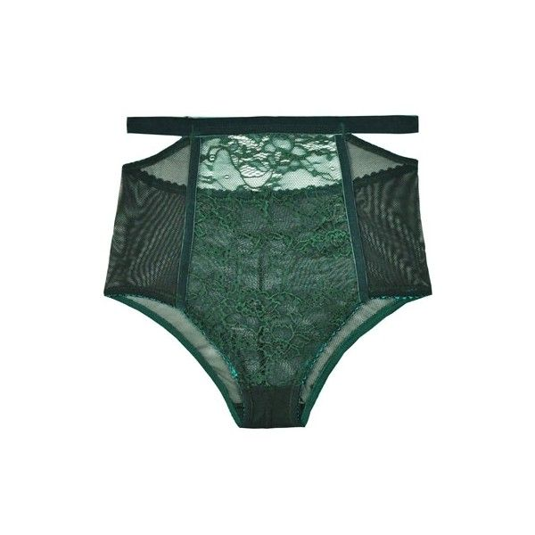 Lonely Sabel Green High Waist Brief ($65) ❤ liked on Polyvore featuring intimates, panties, lingerie, underwear, undergarments, green lingerie, high rise panties, high waist panty, high waisted briefs panties and high-waisted panties