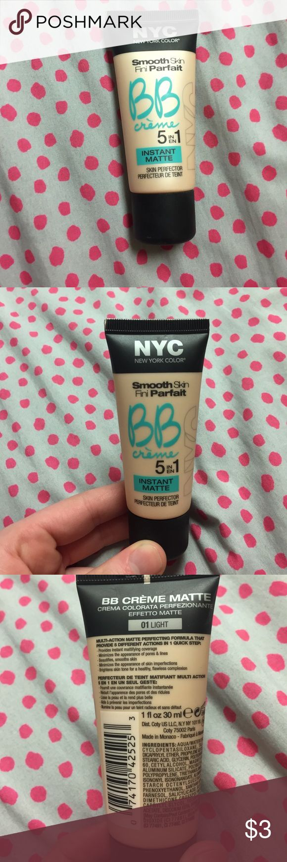NYC Smooth Skin BB Creme instant matte Barely used BB creme in the shade 01 Light. Provides instant mattifying coverage. NO TRADING! New York Color Makeup Foundation