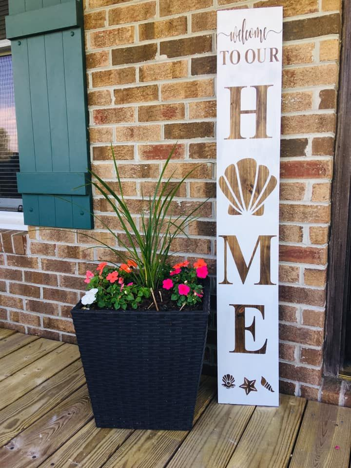 Welcome To Our Home With Sea Shell Accent Porch Signs Planter Pots Novelty Sign