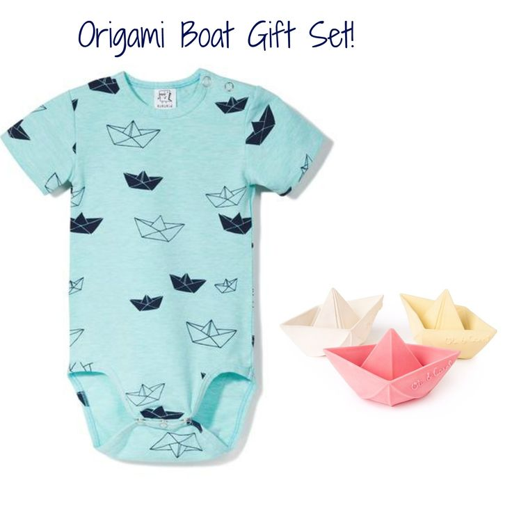 Origami Boat Gift Set: 1 bodysuit + 1 bath toy. A fun and playful baby gift set! Includes 1 baby bodysuit with origami boat print + 1 random color natural rubber floating bath boat. (pink, yellow, white) 95% cotton