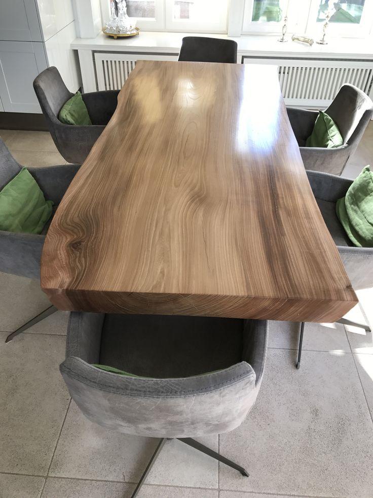 Einzigartiger Massivholztisch Aus Einer Rüster Tischplatte  Www.tischplatten.kaufen