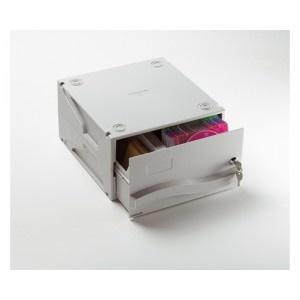 """Archivador para CD o DVD modular y apilable horizontal o verticalmente. Capacidad para 50 CD/DVD´s ó 200 diskettes 3.5"""" 0 42 zips o 16 Data Cartidges. Cerradura con llave."""