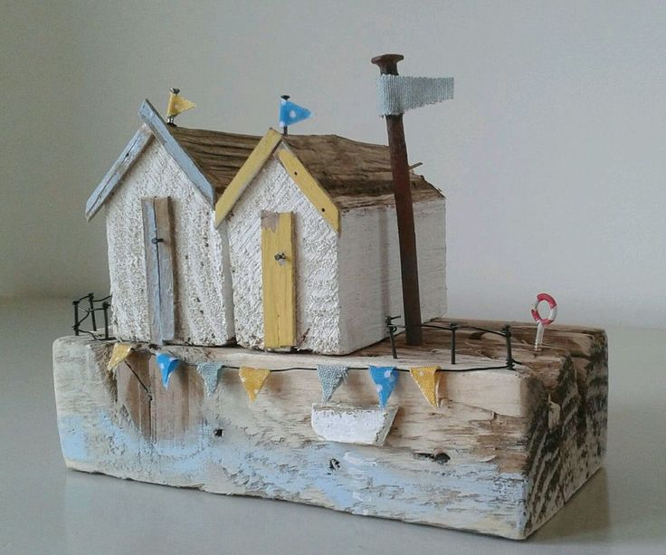 Handmade driftwood coastal beach huts unique ornament, mothers day gift in Decorative Ornaments & Figures | eBay