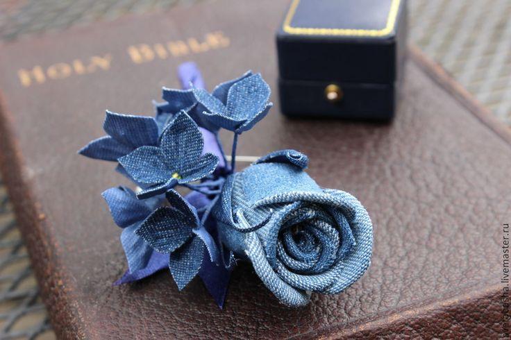 Бутоньерка для жениха, цветок из денима, роза, джинсовая свадьба. Handmade.