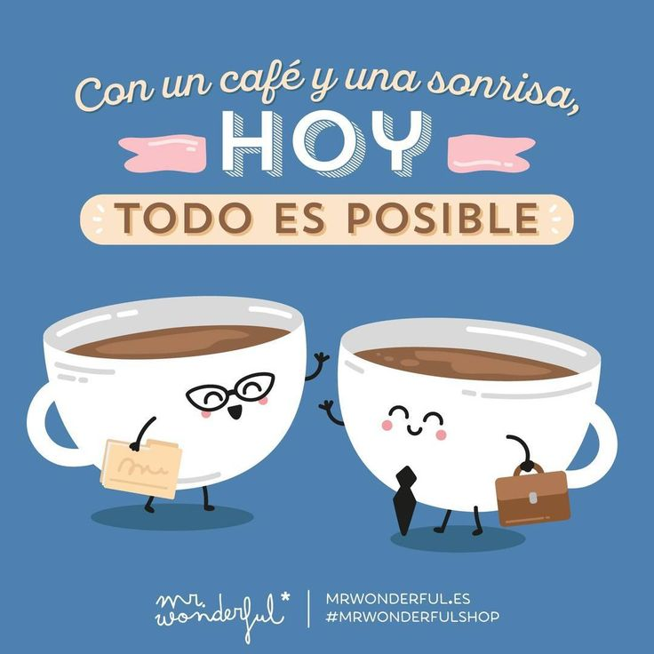 Estés en el currele o de vacaciones, ponle una sonrisa al día que todo se ve mejor #mrwonderfulshop  Anything is possible today with a coffee and a smile. Whether you are at work or on holiday, smile! Everything looks better that way.