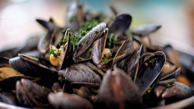 Recette desMoules marinière Pour 6 personnes -Cuisson : 5 à 6 minutes. 4 litres de moules ; 1dl vin blanc ; 350 g beurre ; persil. échalotes