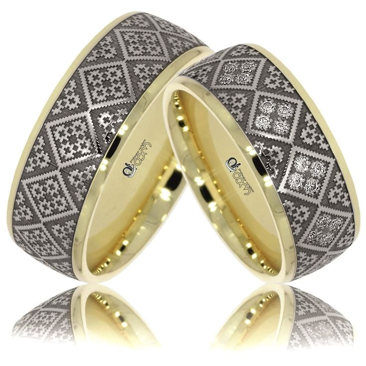 Verighete ATCOM Lux personalizate MOLDOVITA aur galben cu alb