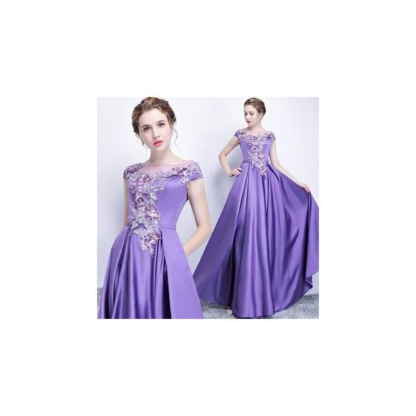 Embroidered Evening Gown ($82) ❤ liked on Polyvore featuring dresses, gowns, women, purple dresses, purple evening dress, broderie dress, embroidery dress and purple ball gowns