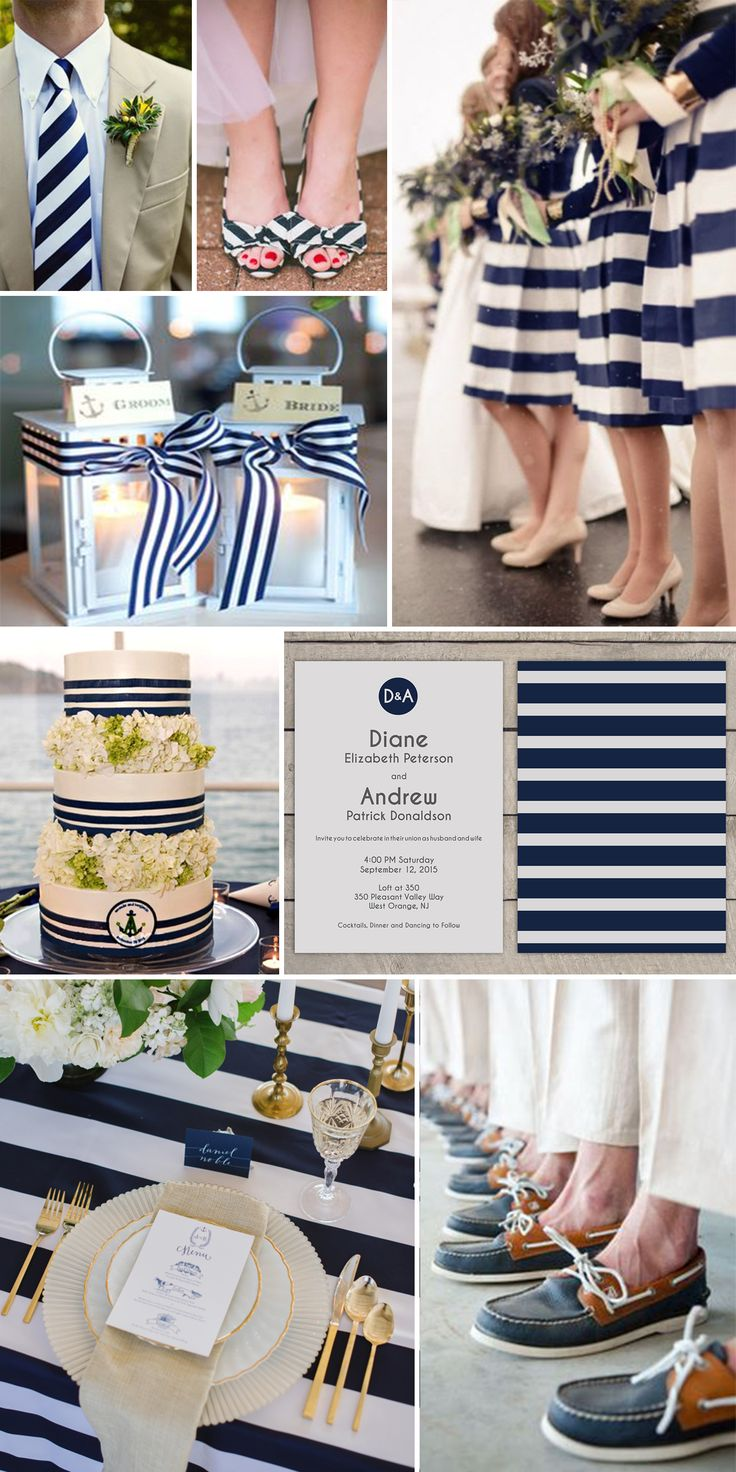 Nautical Wedding Theme Ideas Navy and White. From top left: groomsmen by Carla Ten Eyck; bridal shoes by Steven Michael Photo; bridal party photo via Shell and Chinoiserie; wedding cake via The Knot; invitations by Lucerne Ave. on Etsy; table setting photo by Natalie Franke; boat shoes photo by Michael Larson Photographers